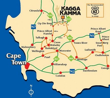Map Of Ceres South Africa Kagga Kamma Private nature reserve directions