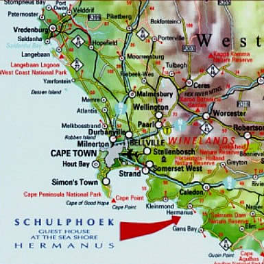 schulphoek guest house herm south africa directions on